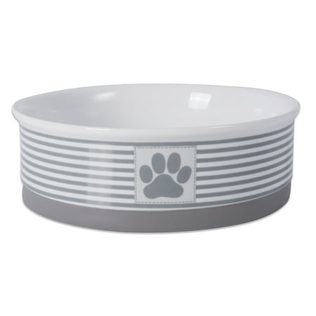 DII Bone Dry Paw Patch & Stripes Ceramic Pet Bowl for Food & Water with Non-Skid Silicone Rim for Dogs and Cats (Large - 7.5