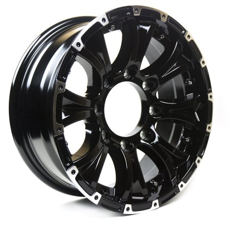 Viking Series Machined Lip Gloss Black Aluminum Trailer Wheel with Chrome Cap - 15