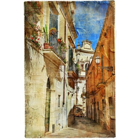 Italian Old Town Streets- Lecce.Picture In Painting Style Print Wall Art By Maugli-l (Italy Art Painting)