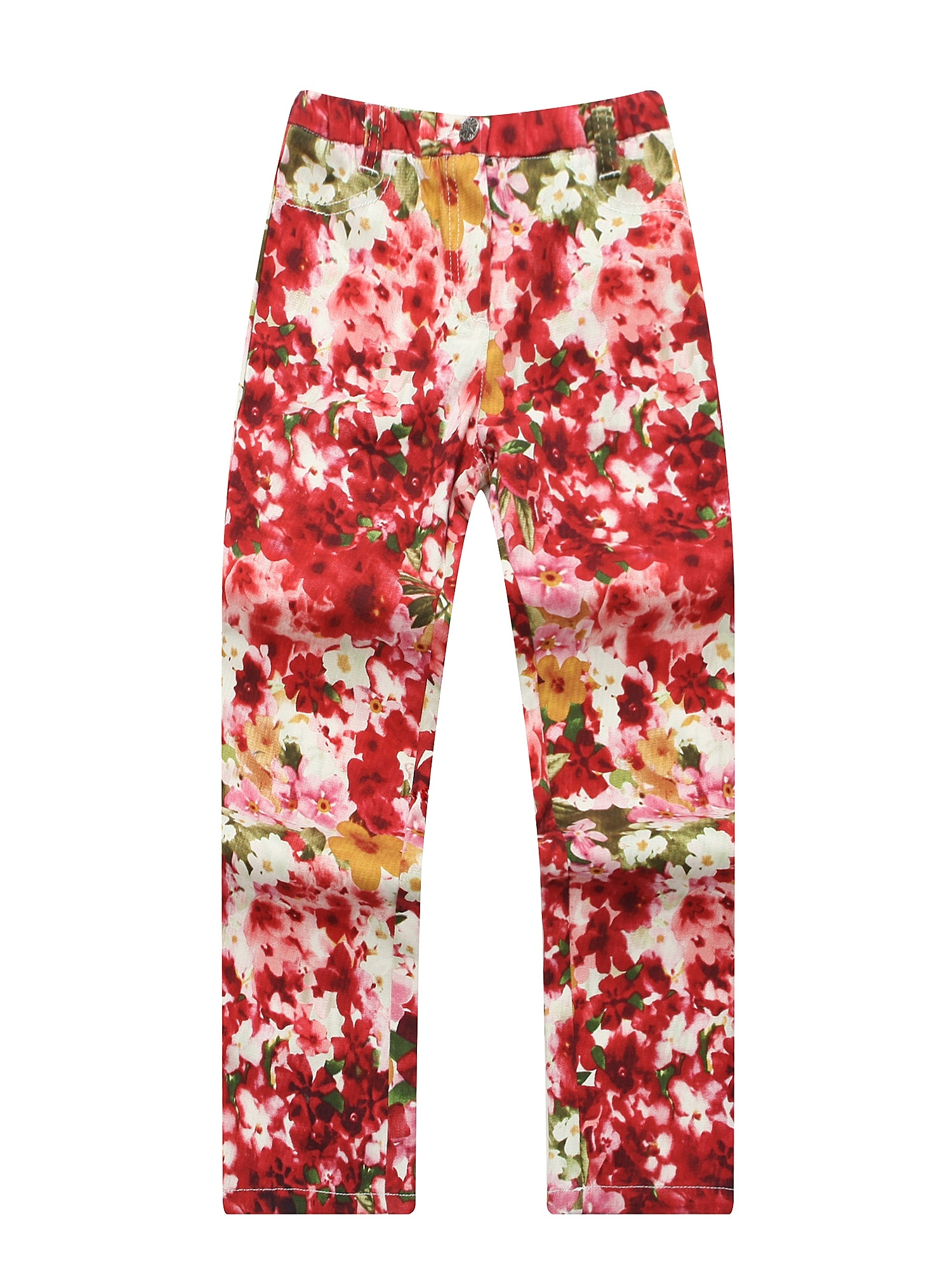 Richie House Girls' Flower Printed Trousers with Zip Fly and Snap Closure RH1186