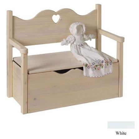 Little Colorado Bench Toy Box - White - Heart Cut Out