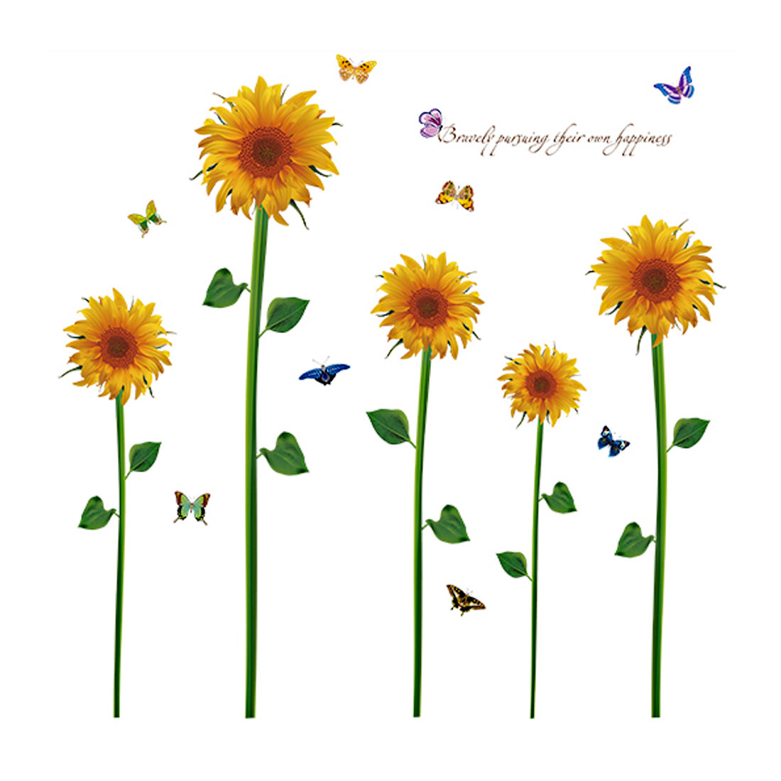 Living Room PVC Sunflower Print Removable Wall Sticker Decal 90 x 60cm