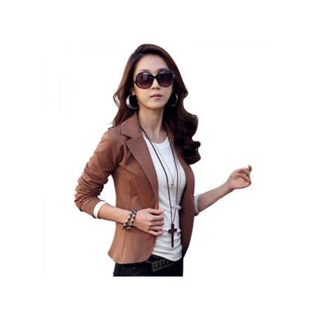 Lavaport Office Ladies Slim Solid Suit Blazer Jacket Outwear Womens One Button Tops