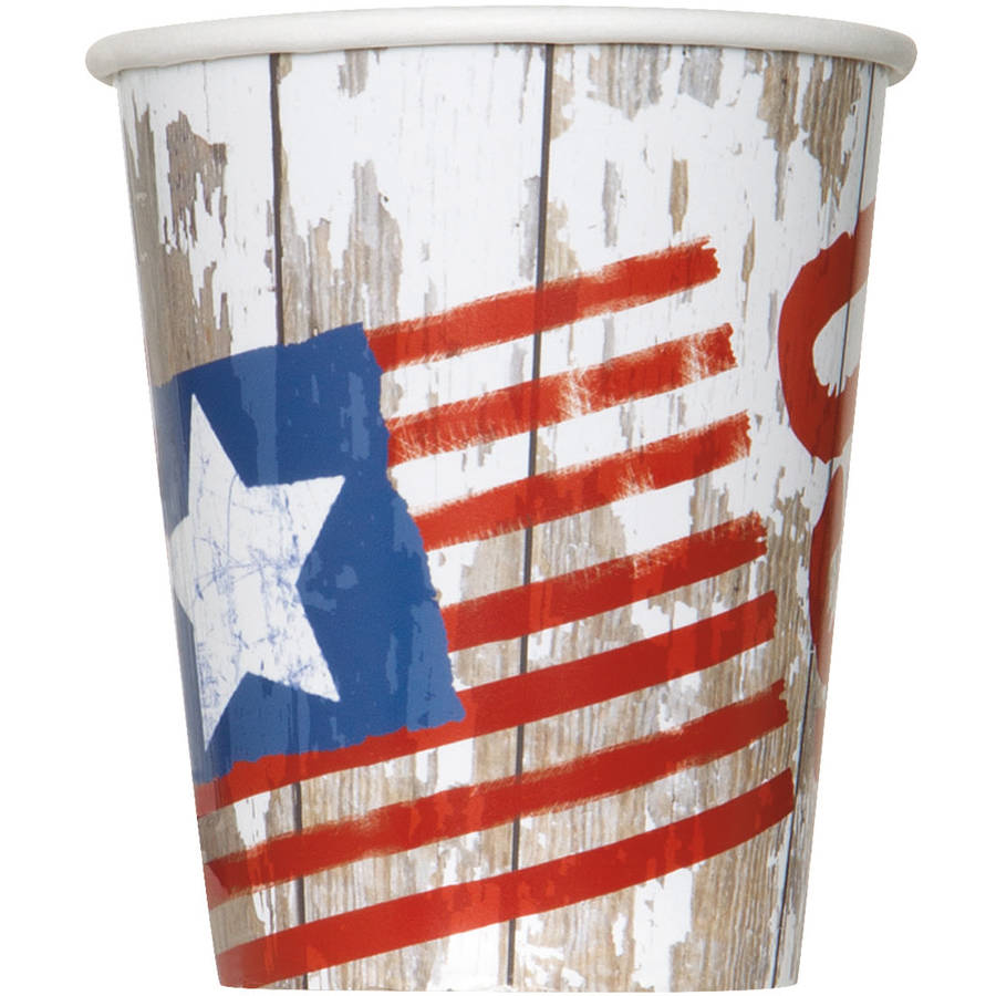 Vintage American Flag Paper Cups, 9 oz, 8ct