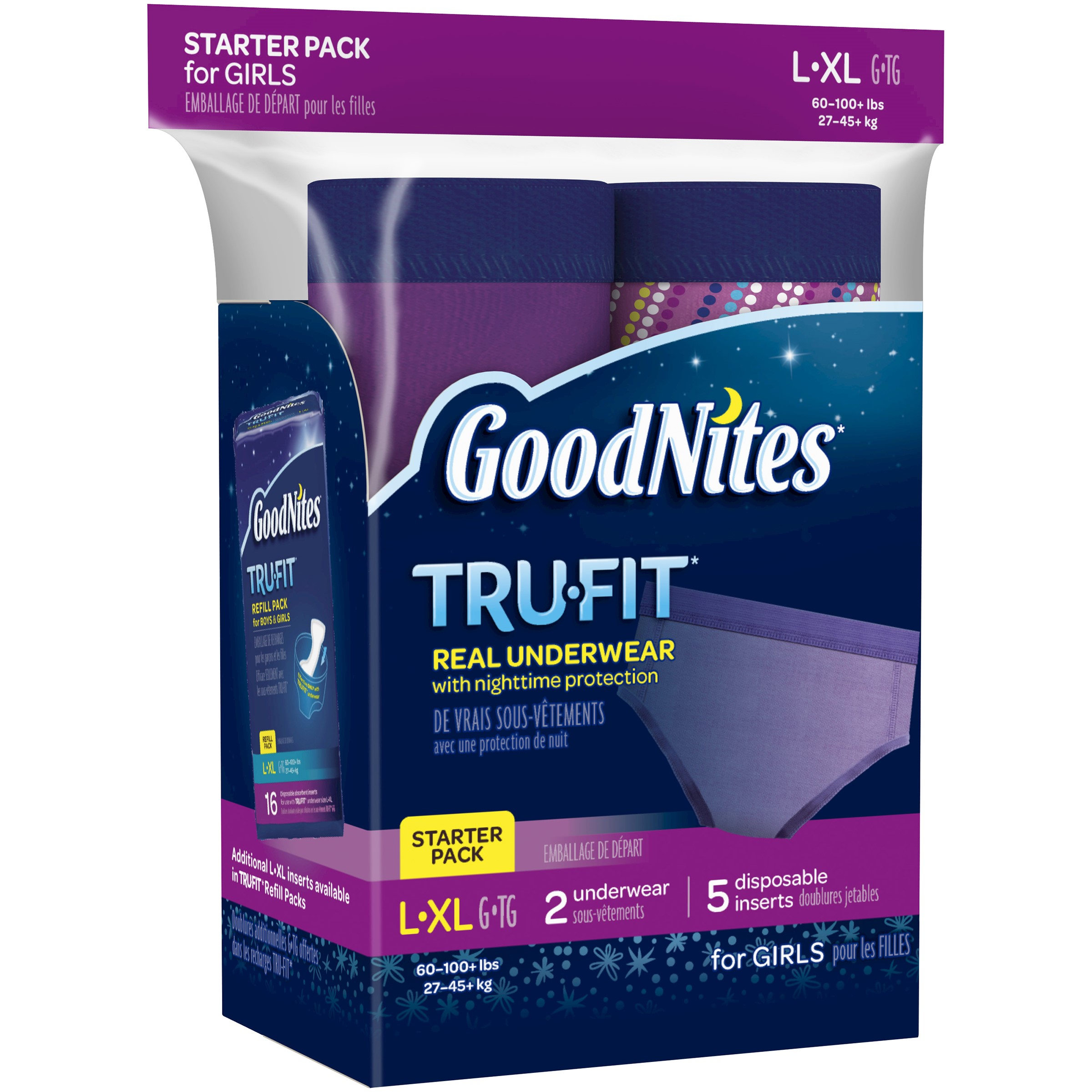 GoodNites Tru-Fit Bedwetting Underwear with Nighttime Protection Starter Pack for Girls, S/M, 7ct