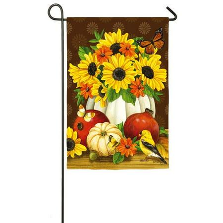 Evergreen White Pumpkin Bouquet Satin Garden Flag, 12.5 x 18 inches
