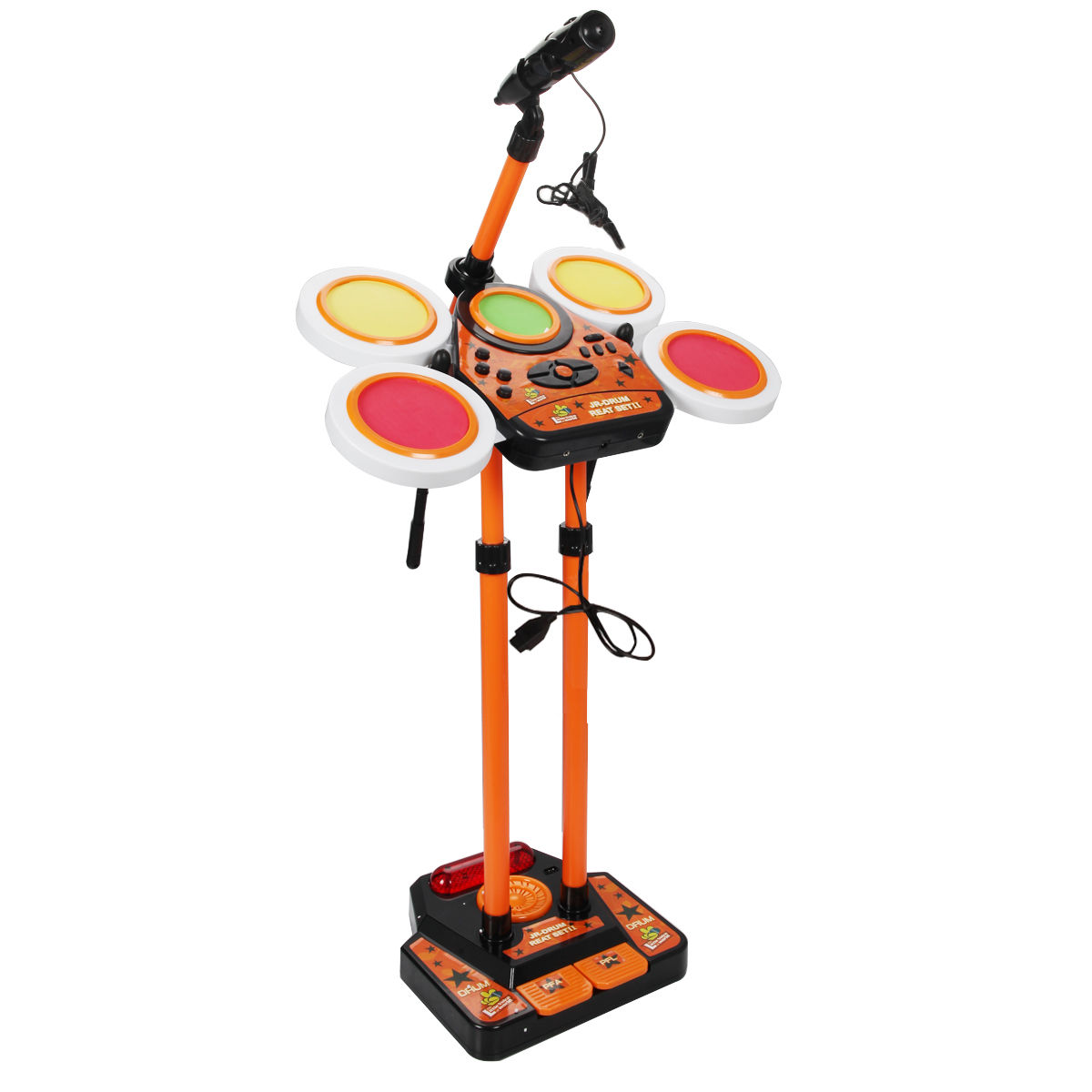 Costway Kids Electronic Drum Set Mp3 Function W Microphone Height