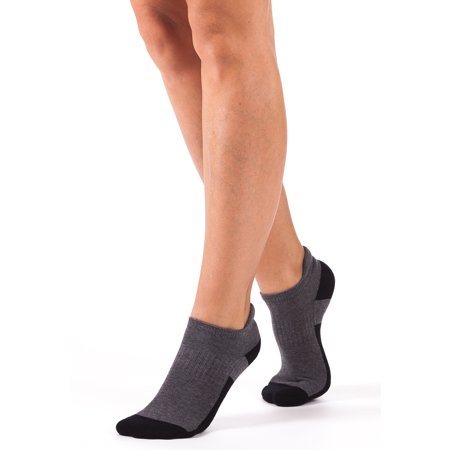 Bellissima Women's Athletic No Show Socks Running Cycling Cushion Sock (Grey