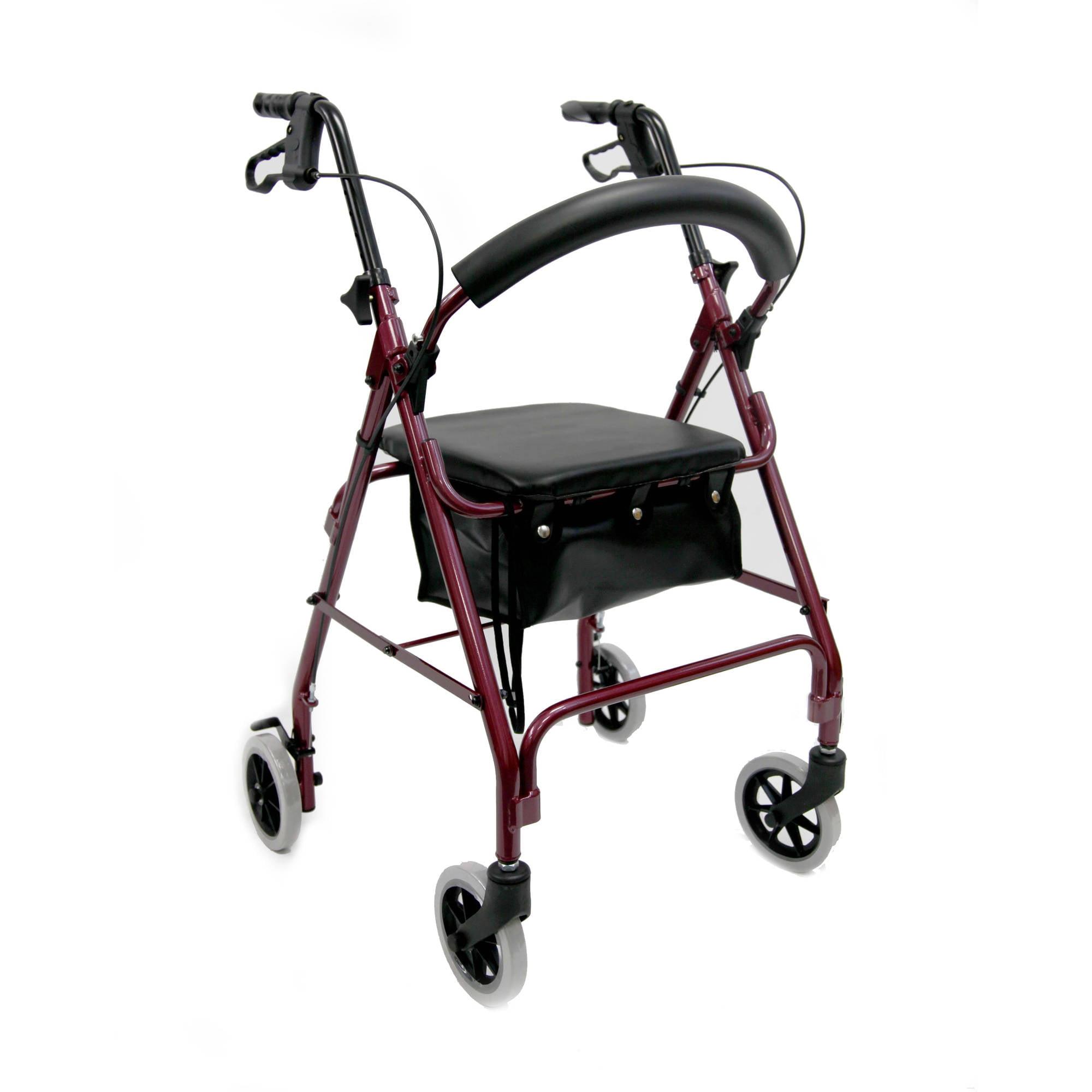 "Karman R-4600 Lightweight Rollator with 6"" Wheels, Padded Seat and Backrest, Cloth Basket, Burgundy"