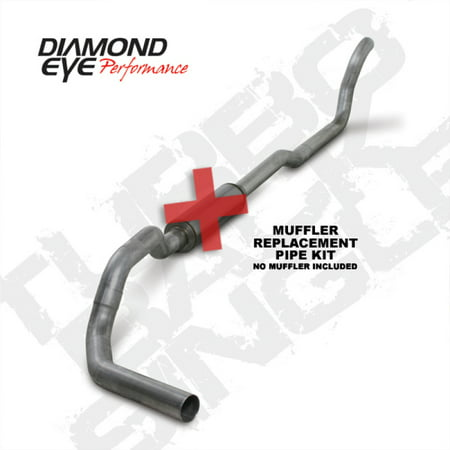 Diamond Eye KIT 4in TB MFLR RPLCMENT PIPE SGL AL: 2-WHEEL DRIVE ONLY 89-93 DODGE CUMMINS