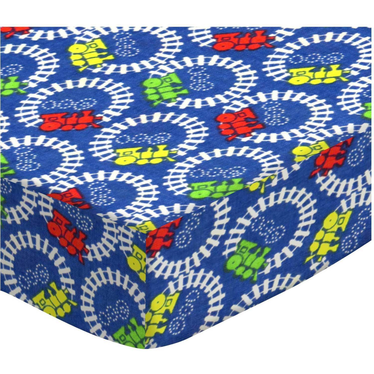 SheetWorld Fitted Bassinet Sheet - Train Tracks