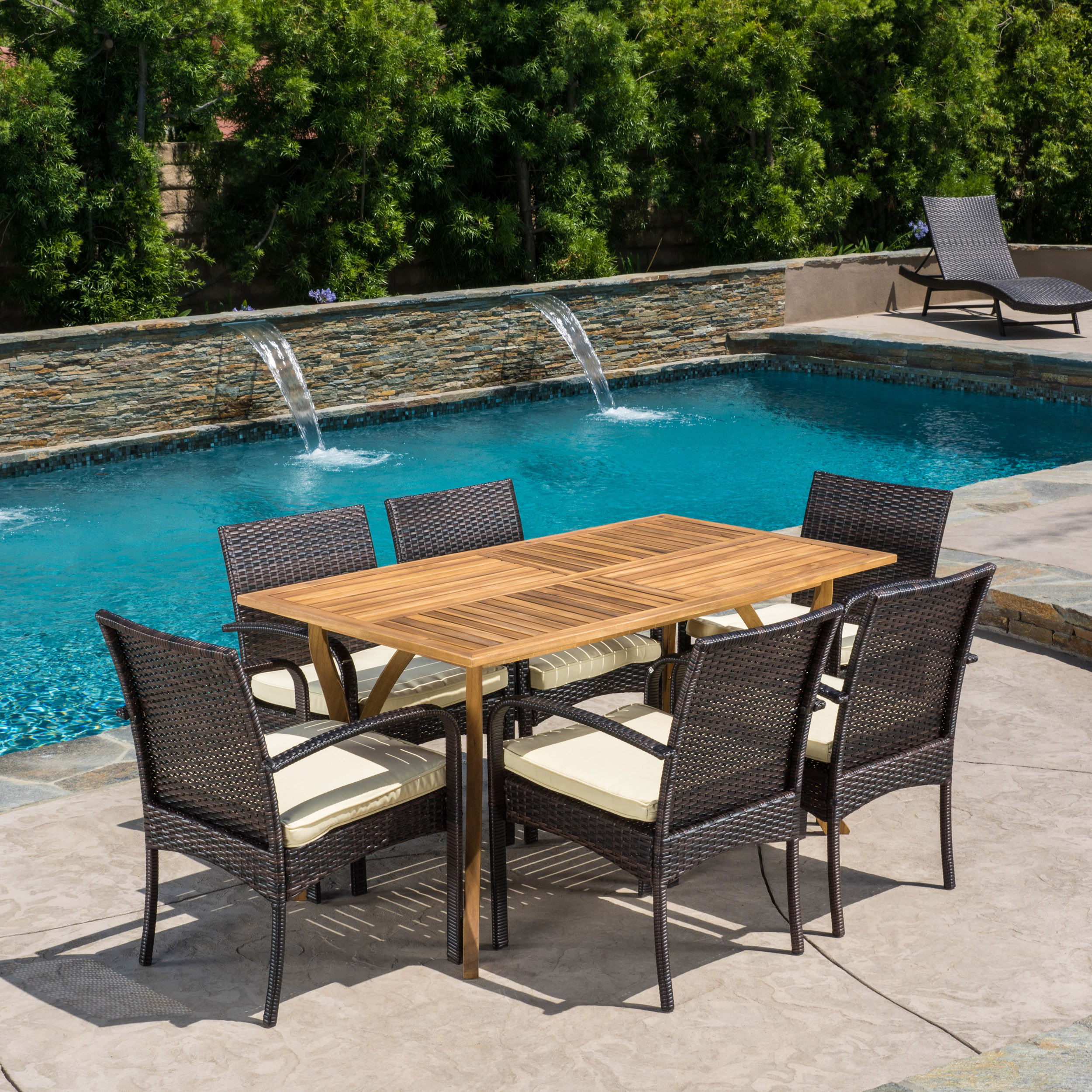 Voyage Outdoor Wicker and Acacia Wood 7-Piece Dining Set, Teak Finish and Crme
