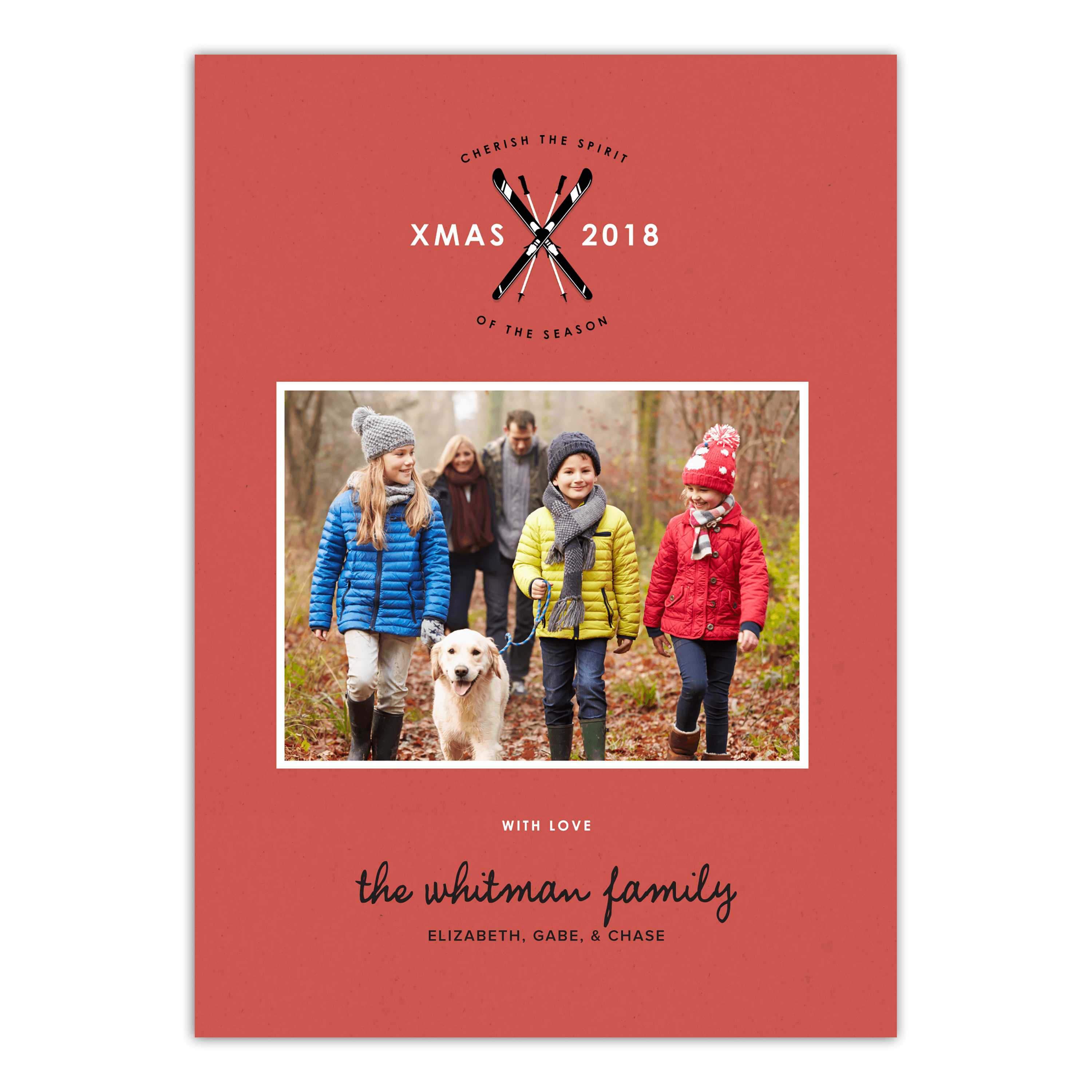 Crossed Skis - 5x7 Personalized Christmas Card