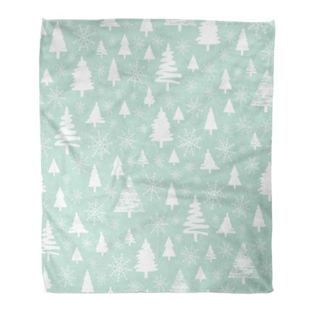 SIDONKU Throw Blanket Warm Cozy Print Flannel Holiday Pattern Christmas White Forest on Blue Snow in The Woods Trees Comfortable Soft for Bed Sofa and Couch 58x80 Inches ()