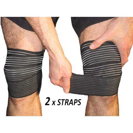 VGEBY 2 straps Elastic Knee Compression Bandage Wraps – Support for Legs, Thighs, Hamstrings Ankle & Elbow Joints Reduce Swelling, Lymphatic Relief Help Recover from Knee Replacement