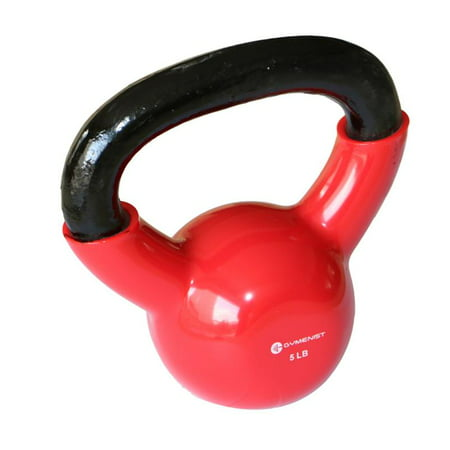 Gymenist Kettlebell Fitness Iron Weights With Vinyl Coating Around The Bottom Half of The Metal Kettle Bell Exercise Body  ()