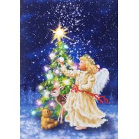 Lighted Canvas-Angel w/Tree (8.26 x 5.9)