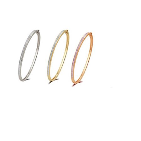 Elegant 0.02 Cttw Diamond Accent 3 Piece Bangle set In 14K White, Yellow & Rose Gold (White Gold Plated Bangle)