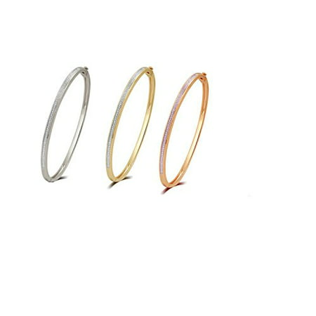 Accent Three Roses - Elegant 0.02 Cttw Diamond Accent 3 Piece Bangle set In 14K White, Yellow & Rose Gold Plated