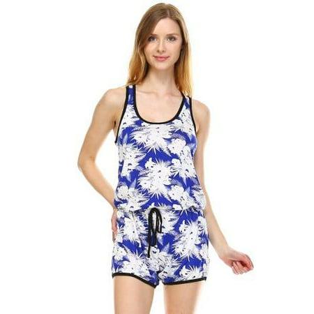 3c47d21a1b Urban Love - Urban Love Women's Tropical Print RacerBack Sleeveless Romper  - Walmart.com