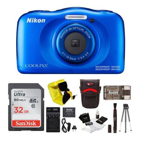 Nikon Coolpix W100 Rugged Digital Camera (Blue) with 32GB Accessory