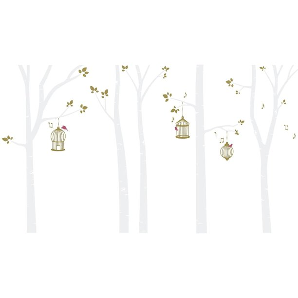 Bird Cages In Birch Trees Wall Decal White Gold Walmart Com Walmart Com