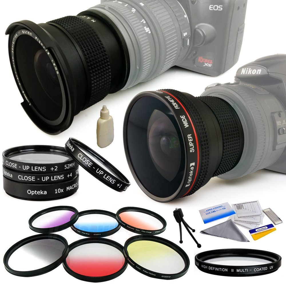 Pro .20x + .35x Fisheye Lens + UV Filter + Close Up+ 6 PC Filters for 52MM Nikon DSLR D810 D800 D800E D7000... by Opteka