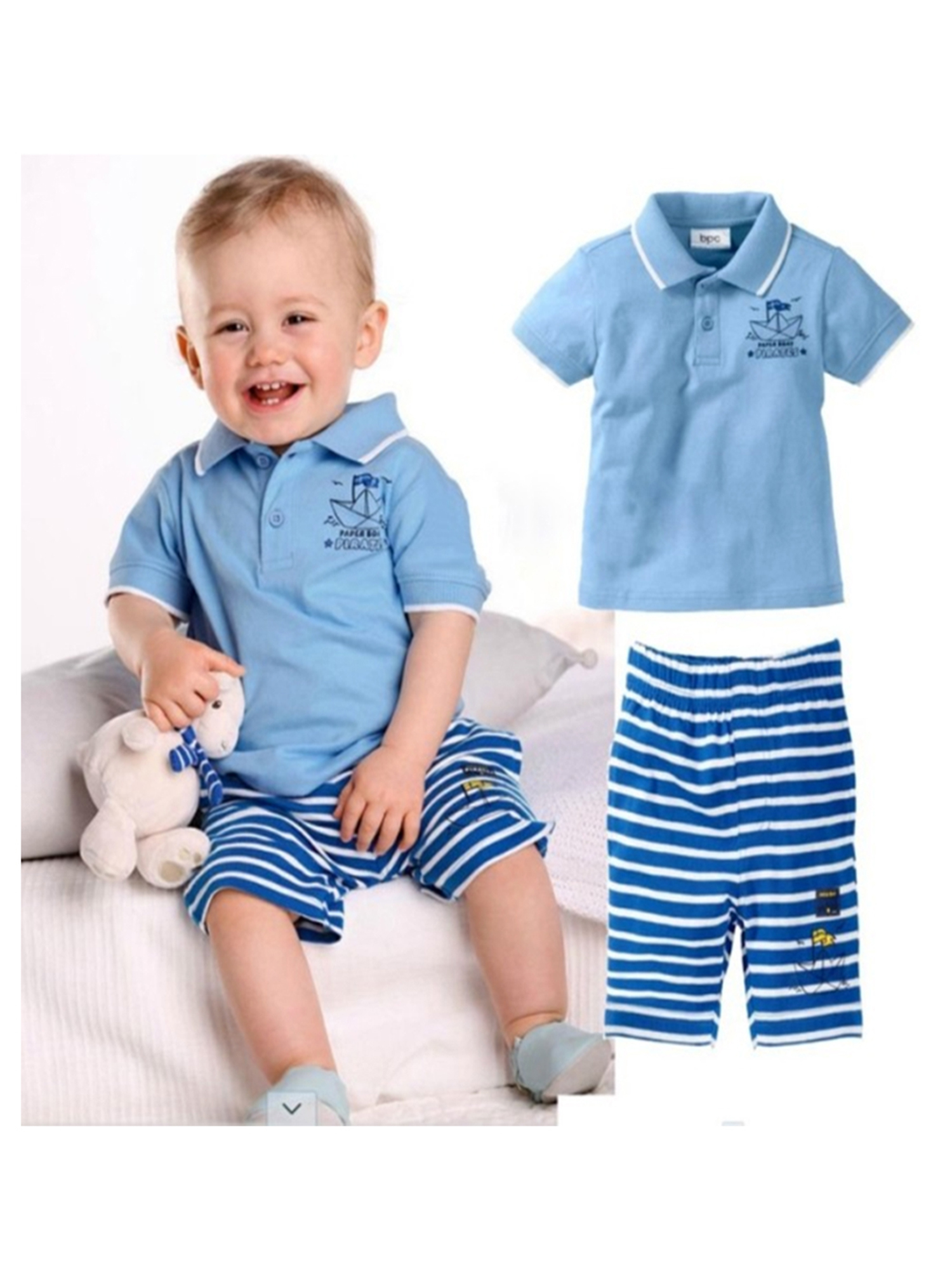 StylesILove Baby Boy Paper Boat Pirates Polo T-shirt and Pants 2-piece (12-18 Months)