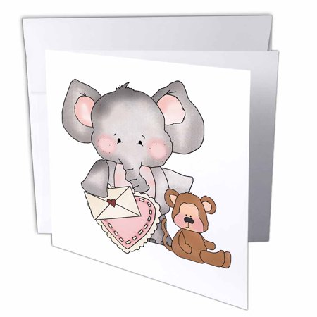 3drose elephant and monkey sweet valentine design greeting cards 6 3drose elephant and monkey sweet valentine design greeting cards 6 x 6 inches m4hsunfo