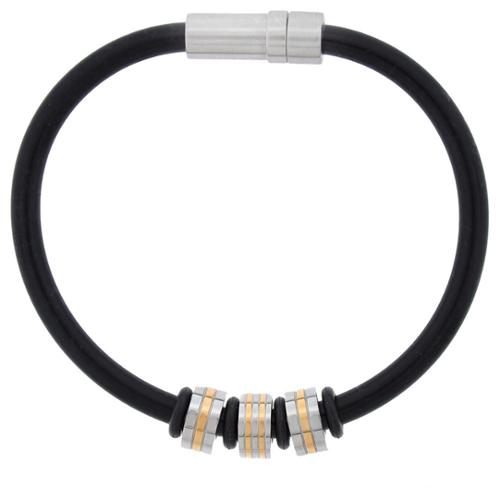 Two-tone Stainless Steel Black Rubber Bracelet