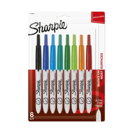 Sharpie Ultra Fine Tip Marker - Sharpie Retractable Permanent Marker, Ultra Fine Tip, Assorted Colors, 8/Set