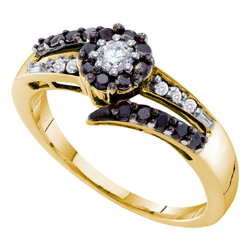 14kt Yellow Gold Womens Round Black Colored Diamond Solitaire Ring 1/2 Cttw