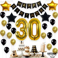 30th Birthday Decorations Gifts for Her Him(Men Women) - Dirty 30 Birthday Party Supplies Happy Birthday Banner, 30 Gold Number Balloons and Confetti Balloons