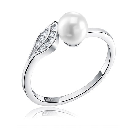 Ginger Lyne Collection Sterling Silver Leaf Design Adjustable Simulated Pearl Pave CZ Party Ring