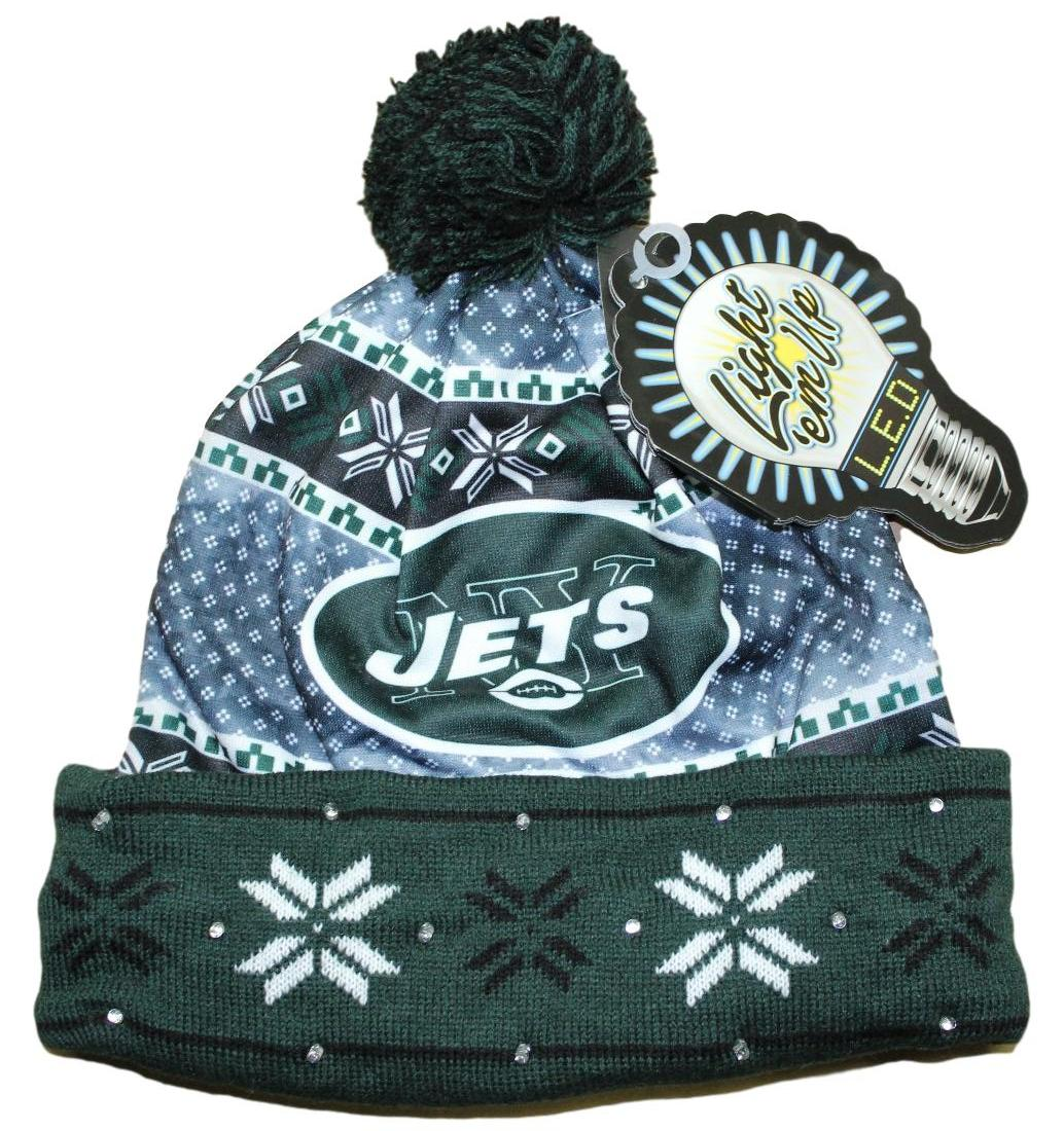 """New York Jets NFL """"Ugly"""" LED Light Up Cuffed Knit Hat with Pom by Forever Collectibles"""