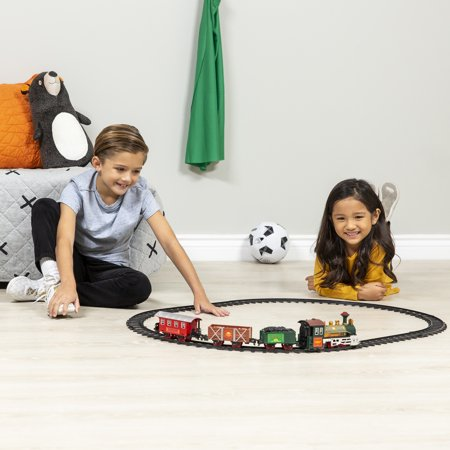Best Choice Products Kids Classic Battery-Operated Electric Railway Train Car Locomotive Track Set for Play Toy, Decor w/ Music, Lights - - Pink Train Track