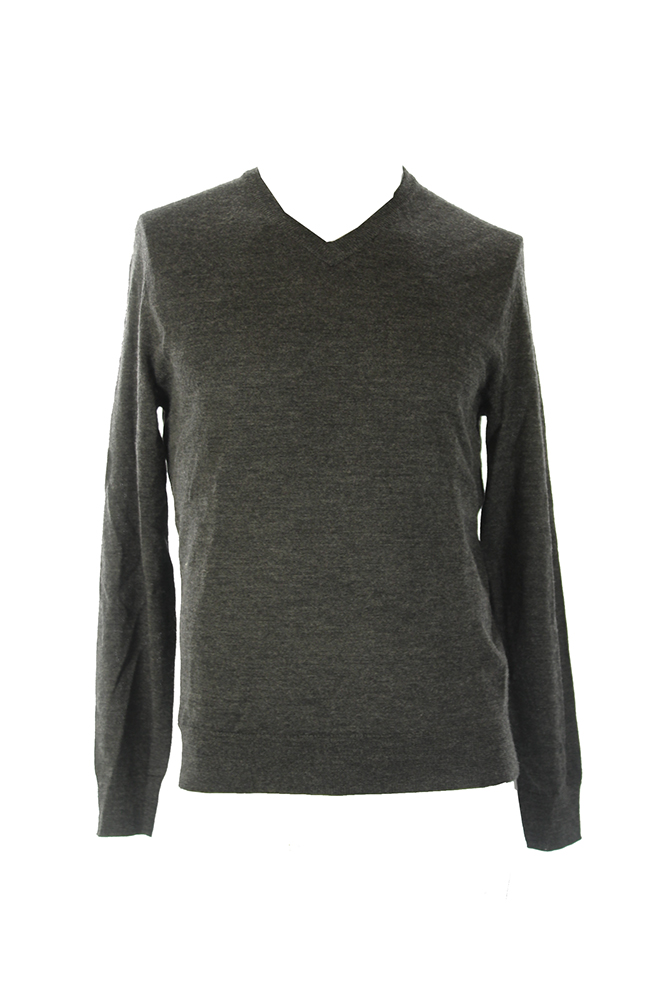 Club Room Heather Black Solid Merino V- Neck Sweater S