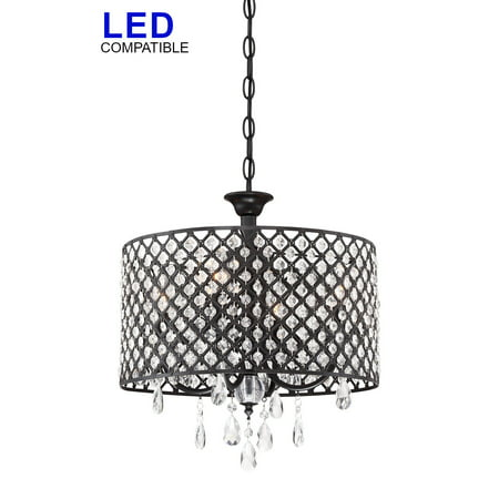 "Revel Briolette 16"" Large 4-Light Contemporary Crystal Chandelier, Drum Shade Ceiling Fixture, Black Finish"
