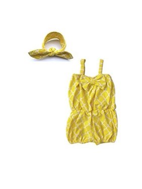 Baby-Girls 2 Piece Quatrefoil Romper and Matching Headband (2-3 Years, Yellow)