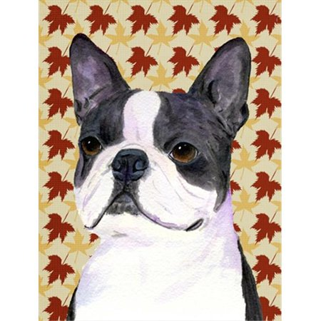 Carolines Treasures SS4340CHF 40 x 40 in. Boston Terrier Fall Leaves Portrait Flag Canvas House Size - image 1 de 1