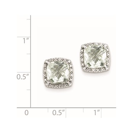 925 Sterling Silver Rhodium-plated Green Quartz and Diamond (13x13mm) Earrings - image 1 of 2