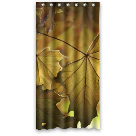 GreenDecor Falling Maple Leaves Hower Waterproof Shower Curtain Set With Hooks Bathroom Accessories Size 36x72 Inches