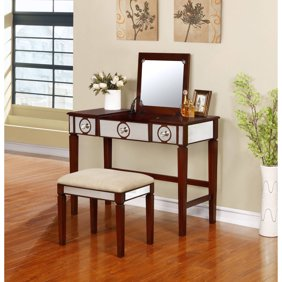 Ktaxon Tri Folding Mirror Vanity Set 5 Drawers Dressing Table Makeup Desk With Stool White