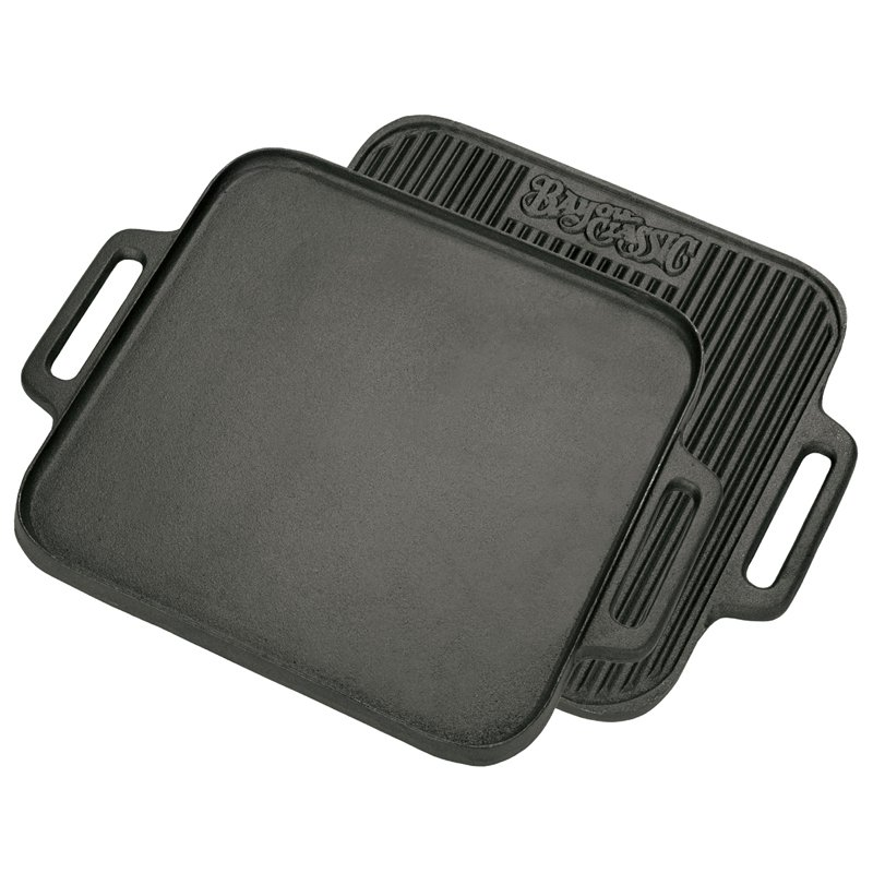 "Bayou Classic 7442 14"" Square Cast Iron Reversible Griddle"