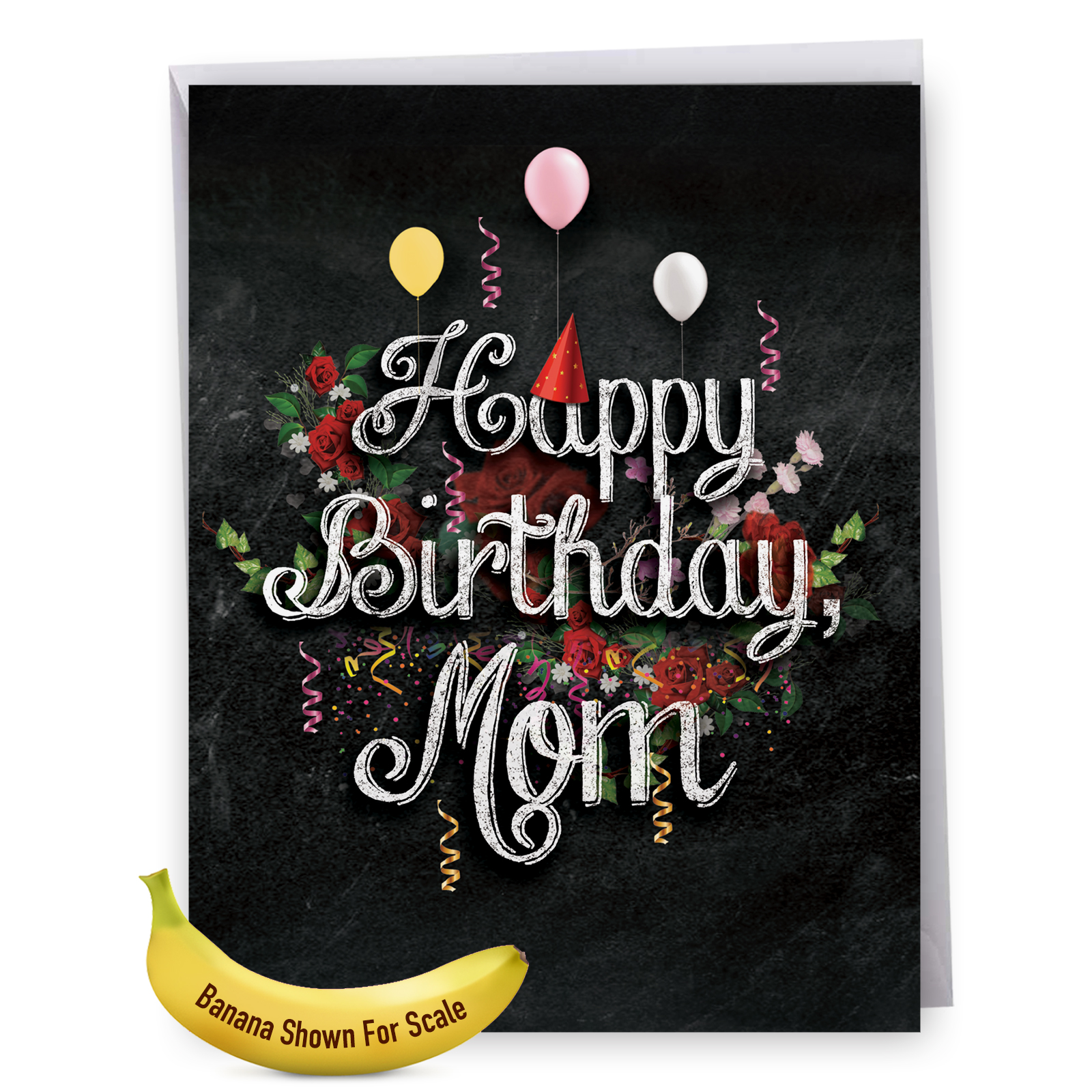 """J6479CBMG Jumbo Birthday Mother Card: Chalk and Roses, Birthday, Featuring Happy Birthday Sentiments on Chalkboard with Party Mofifs and Flowers, With Envelope, Large Greeting Card, NobleWorks Cards"""