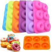 Jeobest 1PC Donuts Baking Pan - Donuts Mold Silicone - Mini Donuts Pan - Silicone Round Shape Donut Baking Pan Donuts Mold Cake Decoration Perfect Shaped Doughnuts Baking Pastry Tool MZ(Orange)