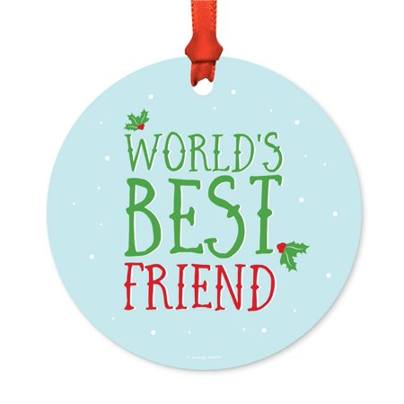 Metal Christmas Ornament, World's Best Friend, Holiday Mistletoe, Includes Ribbon and Gift