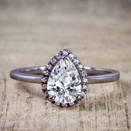 2 Carat Real Moissanite and Diamond Engagement Ring in 18k Gold Over Silver 18k White Gold Moissanite Ring