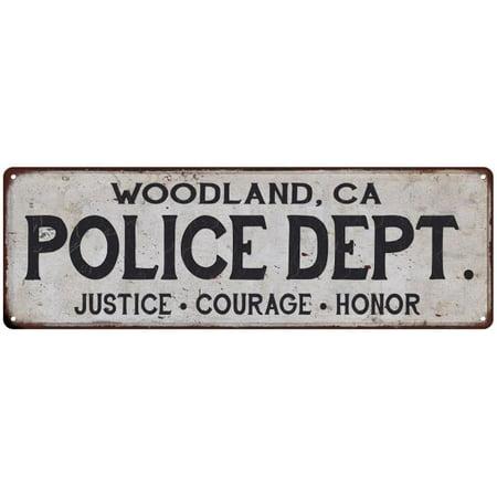 WOODLAND, CA POLICE DEPT. Vintage Look Metal Sign Chic Decor Retro - In Shape Woodland Ca