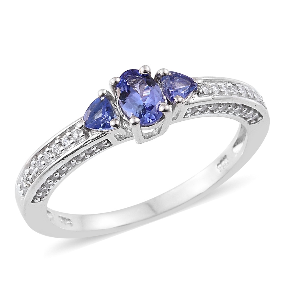 Premium AAA Tanzanite, Zircon Platinum Plated Silver Ring 1.1 cttw by Shop LC